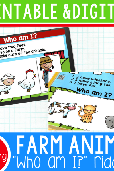"These free farm animal ""Who am I?"" inferencing riddles for preschool are a great way to work on listening skills, visual discrimination and have lots of fun! With Google Slides, Boom Cards and a printable version with QR codes included, your preschoolers can use these no matter what technology access they have."