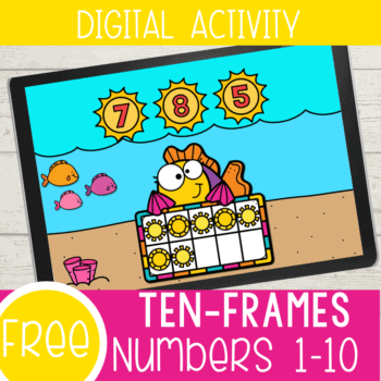 This free digital ten-frames counting activity for kindergarten and preschool is a great way to work on counting 1-10 with your kids! They will love the fish and ocean theme while working on their math skills. Google Slides and Seesaw formats are included.