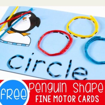 Penguin shapes fine motor cards.