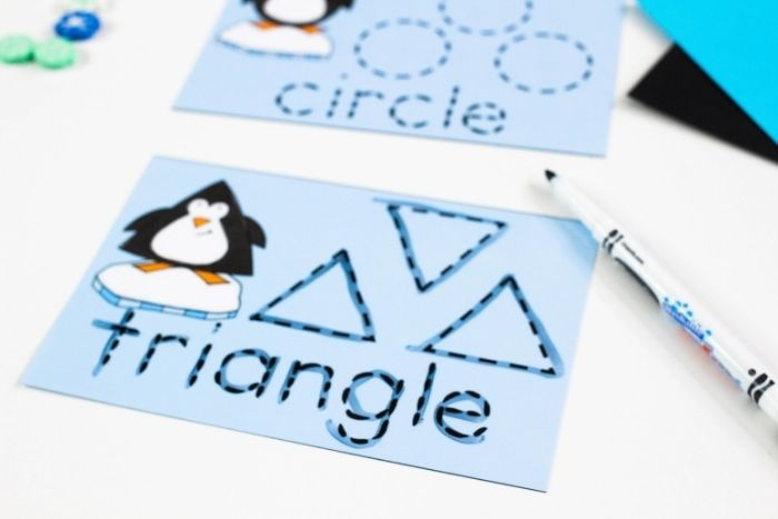 Triangle tracing card for teaching shapes.