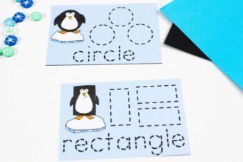 Penguin themed shape card printables.