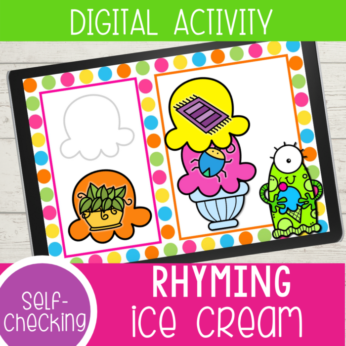 This free digital ice cream rhyming words activity for kindergarten is a great way to practice rhyming with your kids. Kids will love adding scoops of ice cream to create rhyming words! Available in Google Slides, Seesaw and an upgrade for Boom Cards there are so many options to use this engaging rhyming activity!