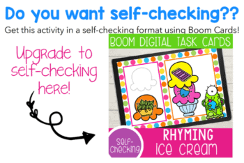 Get self-checking digital rhyming activities with this fun rhyme matching ice cream activity using Boom Digital Task Cards on the BoomLearning platform.