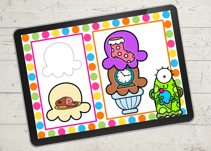 This free digital ice cream rhyming words activity for kindergarten is a great way to practice rhyming with your kids. Kids will love adding scoops of ice cream to create rhyming words! Available in Google Slides, Seesaw and an upgrade for Boom Cards there are so many options to use this engaging rhyming activity! Shown Clock and Sock rhyme with alien holding an ice cream cone