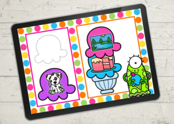 This free digital ice cream rhyming words activity for kindergarten is a great way to practice rhyming with your kids. Kids will love adding scoops of ice cream to create rhyming words! Available in Google Slides, Seesaw and an upgrade for Boom Cards there are so many options to use this engaging rhyming activity! Shown Lake and Cake rhyme with alien holding an ice cream cone