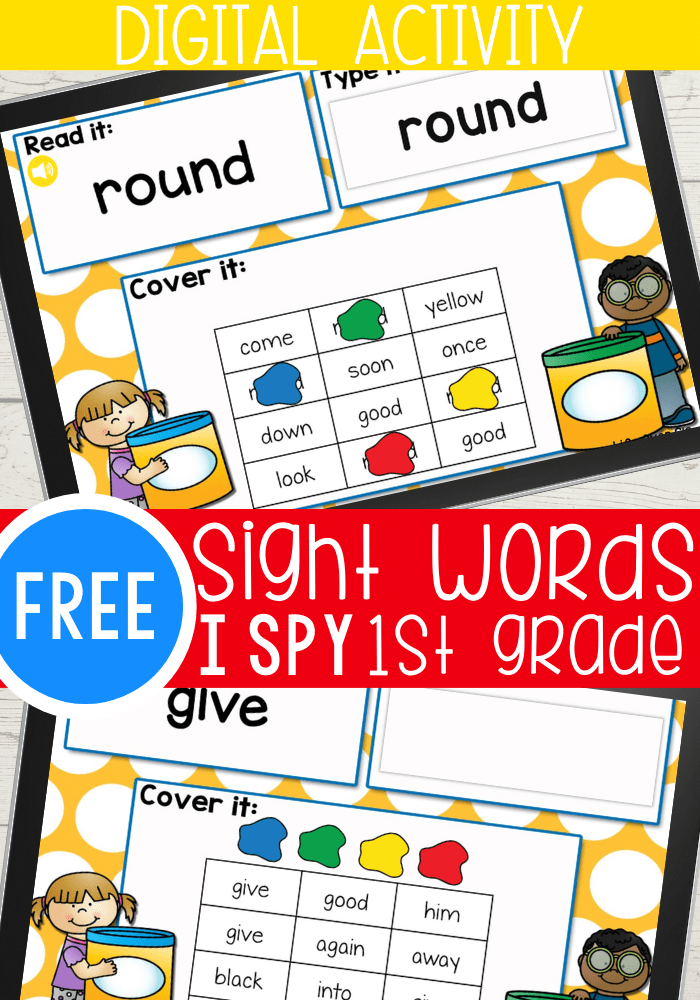Free sight words I Spy Activity for 1st grade. Use this fun Google Slides and Seesaw digital activity to practice 1st grade sight words.