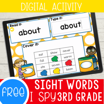 Free sight words I Spy Activity for 3rd grade. Use this fun Google Slides and Seesaw digital activity to practice 3rd grade sight words.