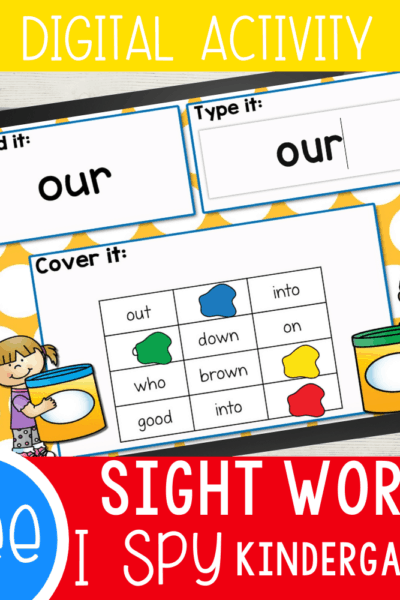 "This Kindergarten Sight Word Digital I Spy set is a great way to work on learning sight words without it being ""work""! Read the sight word, type the sight word, cover the word with the digital 'play dough'."