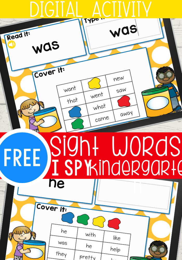 """This Kindergarten Sight Word Digital I Spy set is a great way to work on learning sight words without it being """"work""""! Read the sight word, type the sight word, cover the word with the digital 'play dough'."""