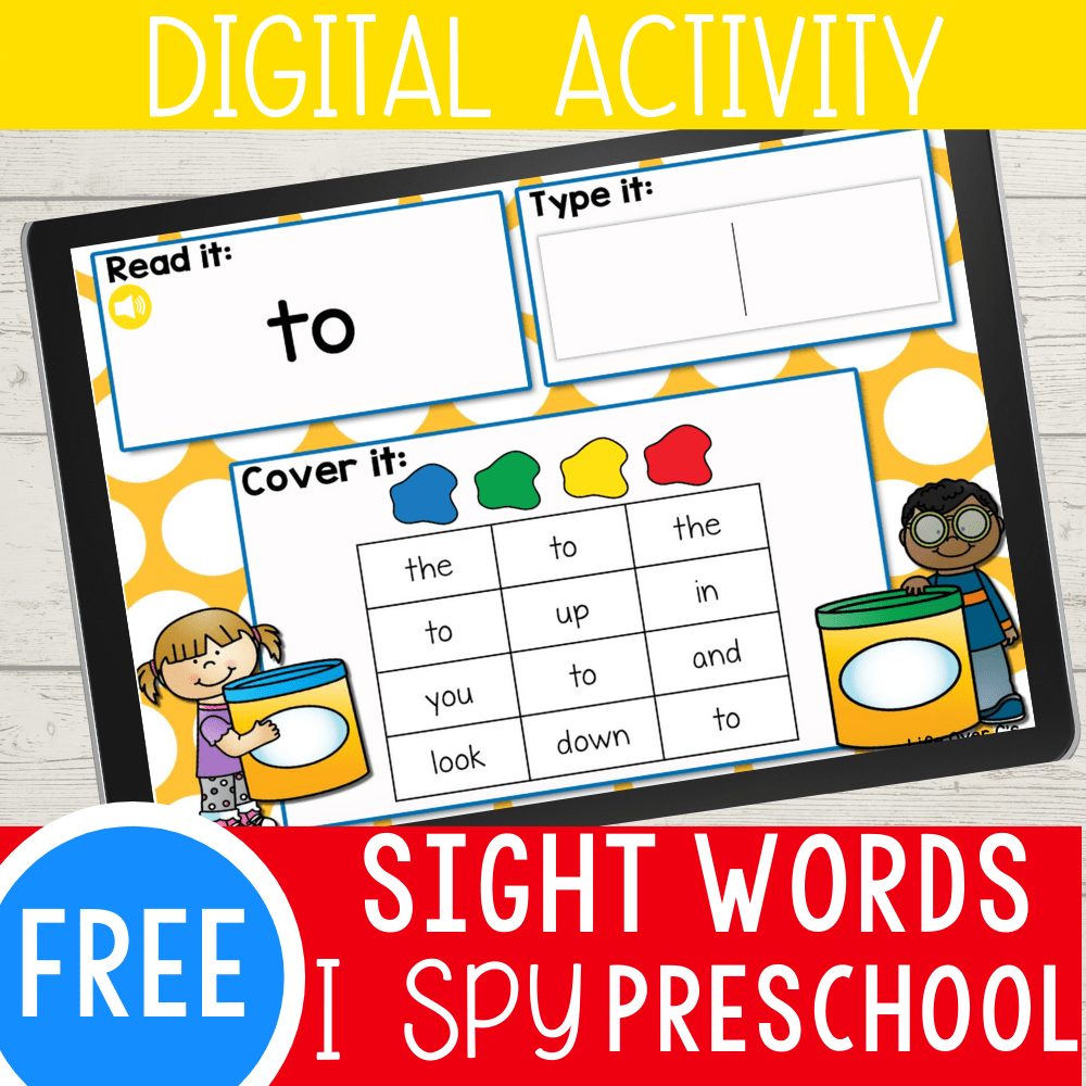 Pre-K Sight Words Digital I Spy Game