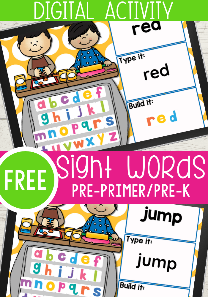 FREE Pre-K Sight Words Google Slides and Seesaw activities for all 40 pre-primer sight words for preschool. Read the word, type the word and build the sight word with letter tiles.