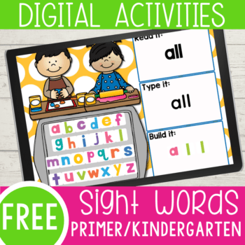 FREE Kindergarten Sight Words Google Slides and Seesaw activities for all 52 primer sight words. Read the word, type the word and build the sight word with letter tiles.
