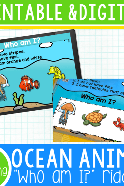 "Free printable and digital ocean animal riddles for preschool. These ""Who am I?"" riddles will help kids identify colors, characteristics, and differentiating qualities for ocean animals. The digital ocean animal riddles are self-checking and have audio to help preschoolers learn independently. The printable riddles have QR codes for the preschoolers to hear the clues."