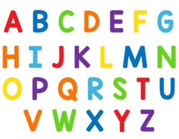 Alphabet Mat for using with Alphabet Sensory bottle. Multi-colored uppercase letters