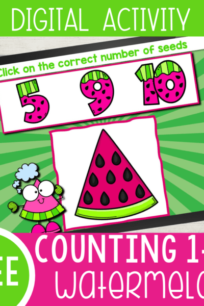 Free printable Watermelon seeds digital counting activity for preschoolers and kindergarteners to practice counting skills this summer. Use Google Slides or Seesaw to practice counting skills.