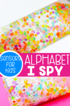 Alphabet I Spy Sensory Bottle for preschoolers. Practice letter identification with your preschoolers using this EASY DIY sensory bottle