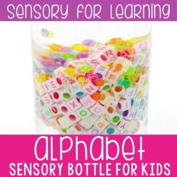 Alphabet I Spy Sensory Bottle for preschoolers. Practice letter identification with your preschoolers using this EASY DIY sensory bottle.