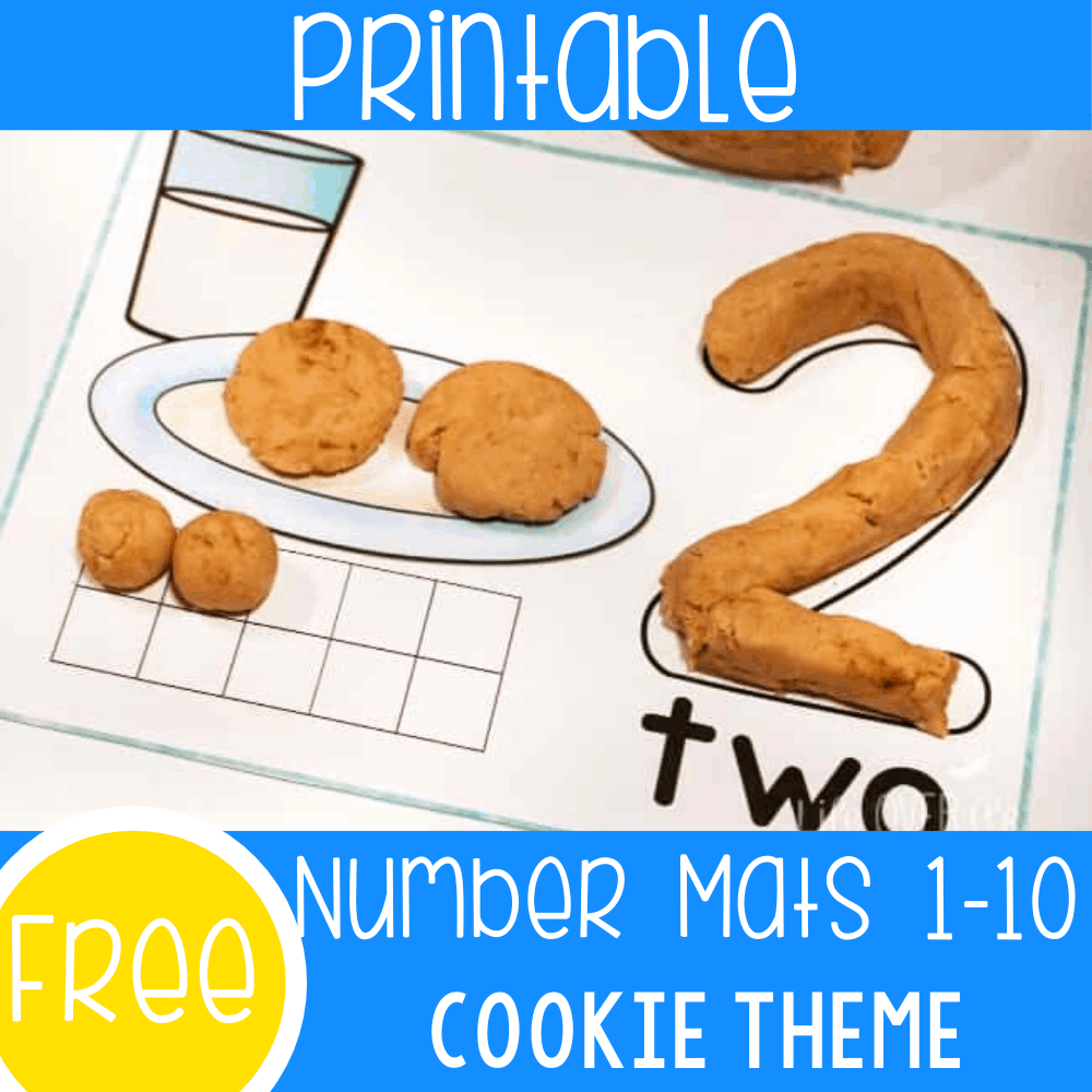 Free cookie play dough mats for numbers 1-10. Count to 10 with these fun cookie number mats. Your preschoolers are going to love them!