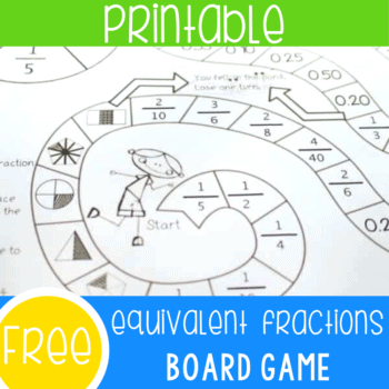 Free printable equivalent fractions activity for math centers. Work on equivalent fractions with this fun fractions board game. Great for partners or small groups!