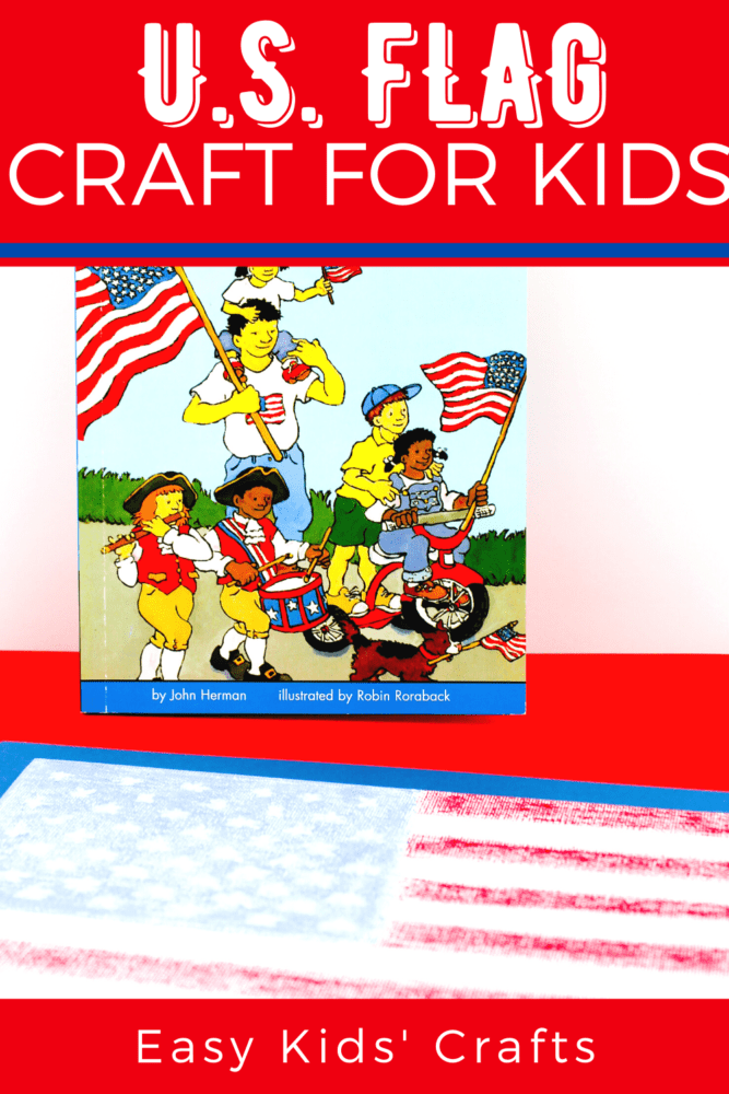 American flag craft for kids on a red background with a book for elementary students about the american flag in the background.