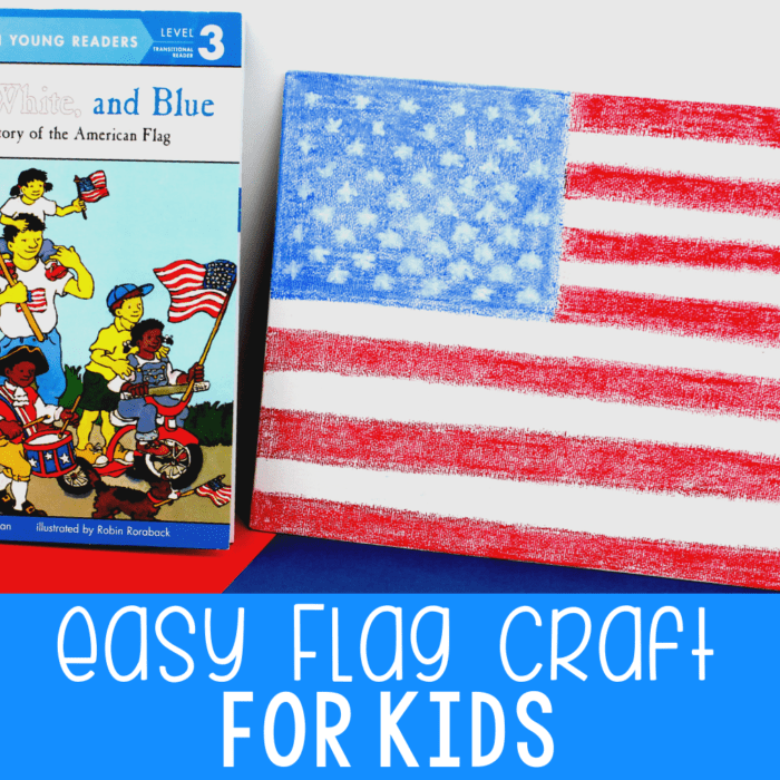 Completed United States flag craft with a book about the story of the American Flag.