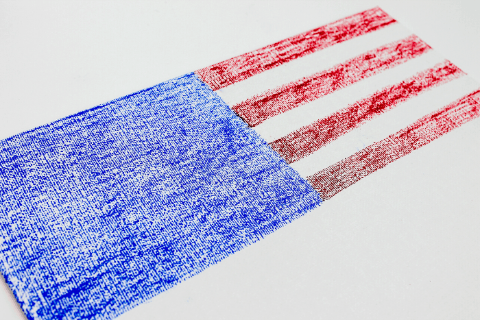 American flag art for kids halfway completed on a white background.