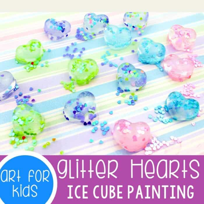 Heart ice cube painting.