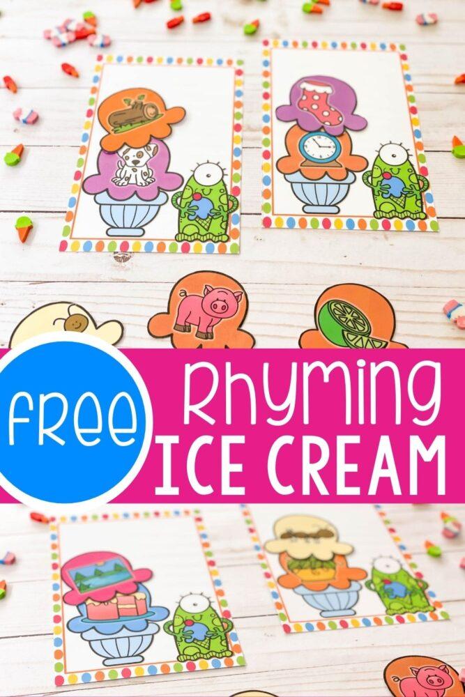 Ice Cream Cone rhyming activity printable.