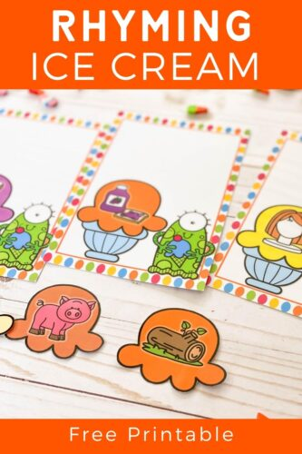 Ice cream rhyme activity printable.
