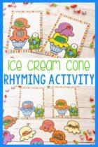Printable Ice Cream Cone Rhyming Activity.