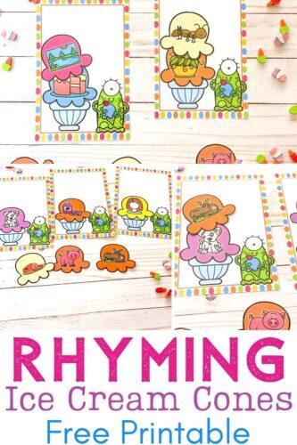 Printable rhyming activity with an ice cream theme.