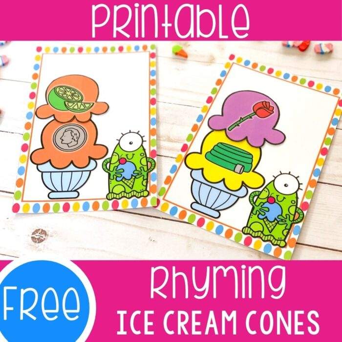 Free Rhyming ice cream cones activity printable.