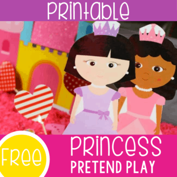 Free princess themed pretend play set for preschoolers. Your preschoolers will love using these princesses in their sensory bins and play dough.
