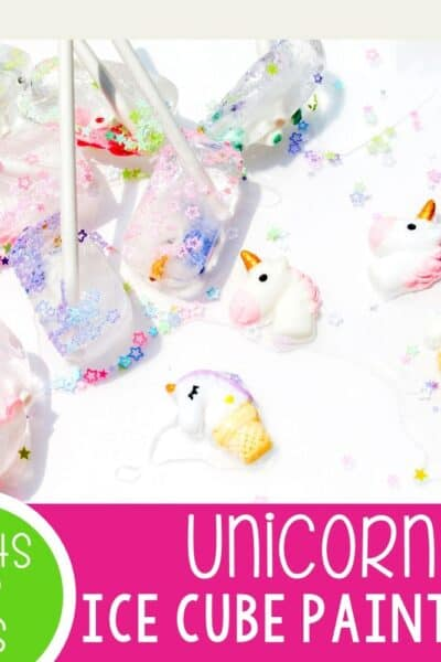 "Unicorn Ice Cube Painting for preschoolers. Pair this fun summer art activity for preschoolers with the super fun ""How to Catch a Unicorn"" book! Keep cool while creating a fun summer art project!"