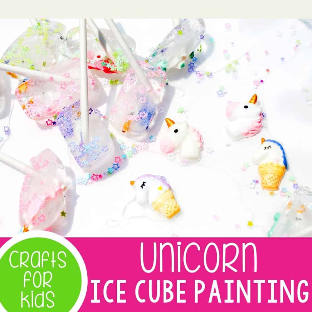 """Unicorn Ice Cube Painting for preschoolers. Pair this fun summer art activity for preschoolers with the super fun """"How to Catch a Unicorn"""" book! Keep cool while creating a fun summer art project!"""