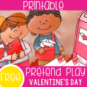 Free printable Play dough pretend play Valentine's Day activity for preschoolers. Kids will love using these Valentine themed kids to pretend with sensory bins and play dough.