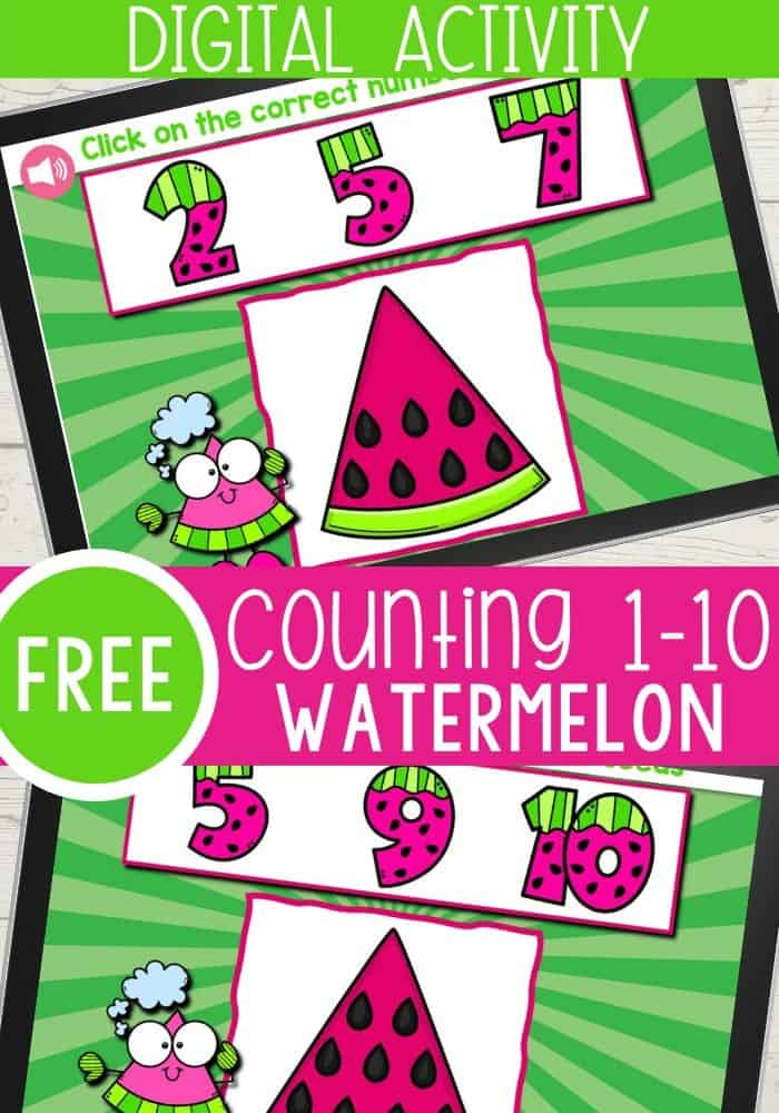 Free counting game for preschoolers with watermelons.