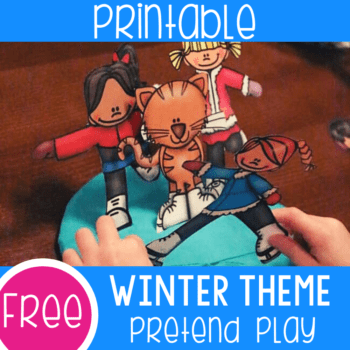 Free printable winter theme ice skating pretend play set for preschool sensory and play dough play.