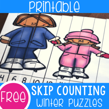 Free printable skip counting activity for kindergarten math centers. Practice skip counting by 2s with these fun winter themed puzzles.