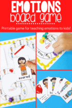 Emotions board game printable for kids.