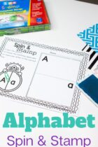 Alphabet spin and stamp worksheets.