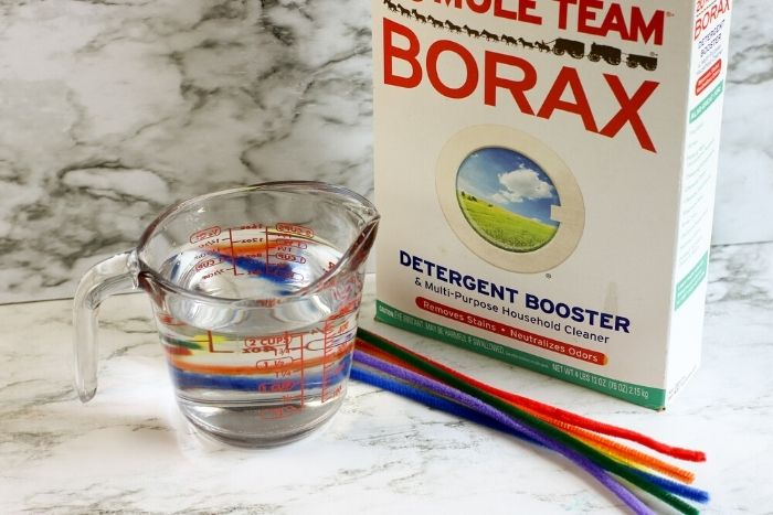 Supplies needed for making borax crystals.