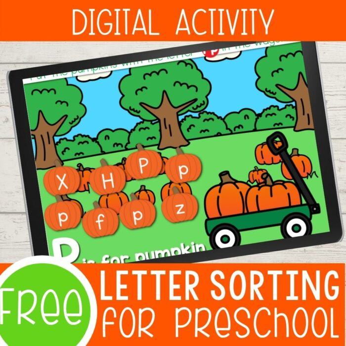 Fall themed letter sorting digital activity.