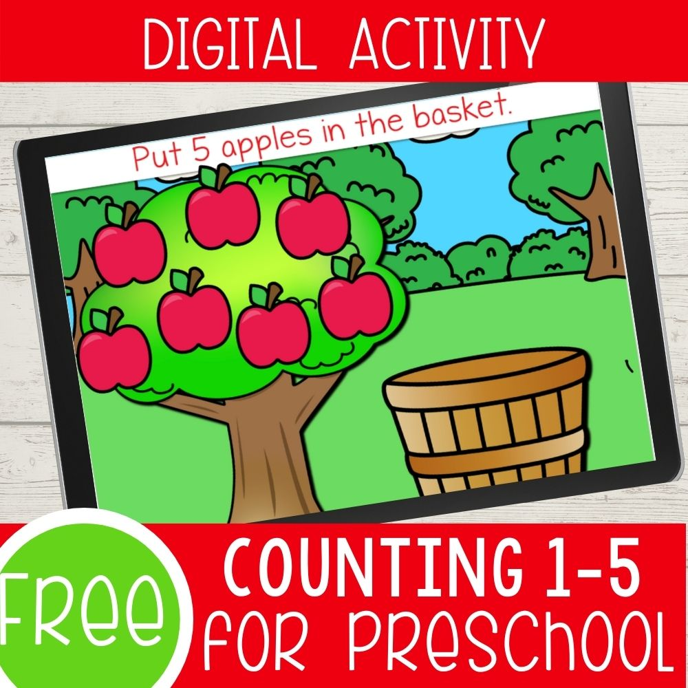 Free digital counting activity with an apple theme.