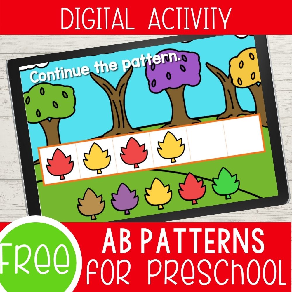 Fall Leaf Patterns for Preschool Digital Activity