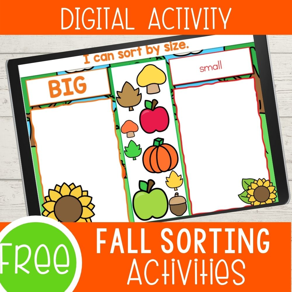 Digital Fall Sorting Activities for Preschoolers