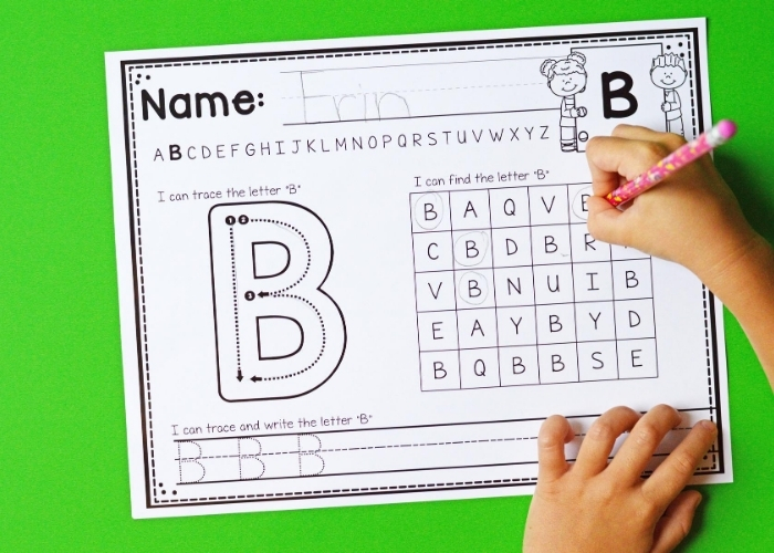 An alphabet writing worksheet focusing on the letter B.