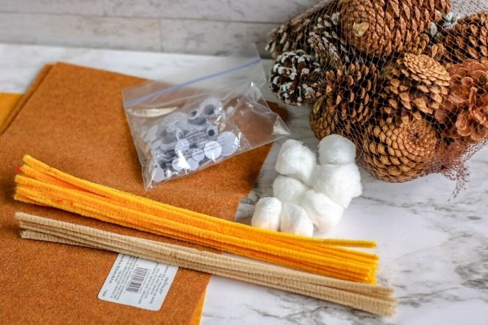 Supplies needed for making a pinecone owl craft.