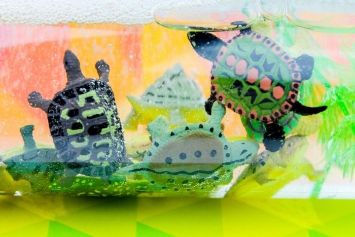 Plastic toy turtles in a sensory bottle.