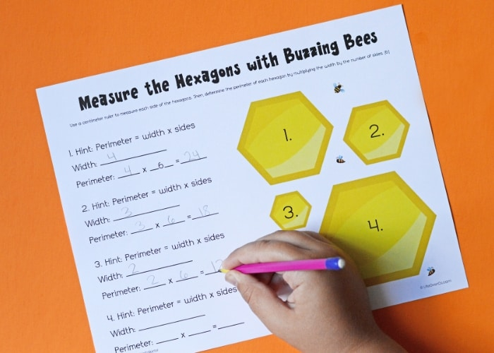 Hand writing out the answer to finding the perimeter of hexagon on a bee worksheet.